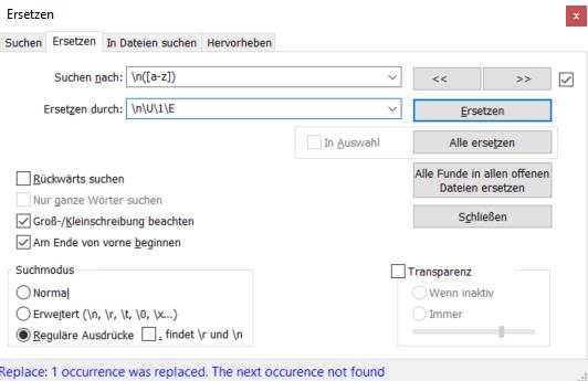 Notepad++ automatische Großschreibung bei Satzanfang.