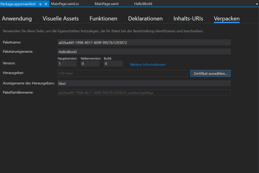 Visuelle Oberfläche von Visual Studio zum Finden des Verpacken Menüs